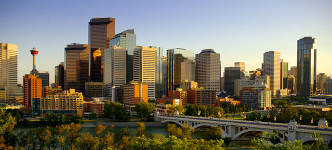 Calgary, Alberta skyline at sunset